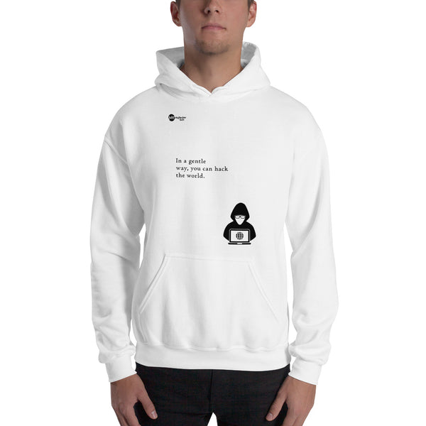 You can hack the world - Hooded Sweatshirt (black text)