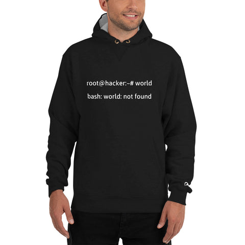 Linux Tweaks - world not found - Champion Hoodie (white text)