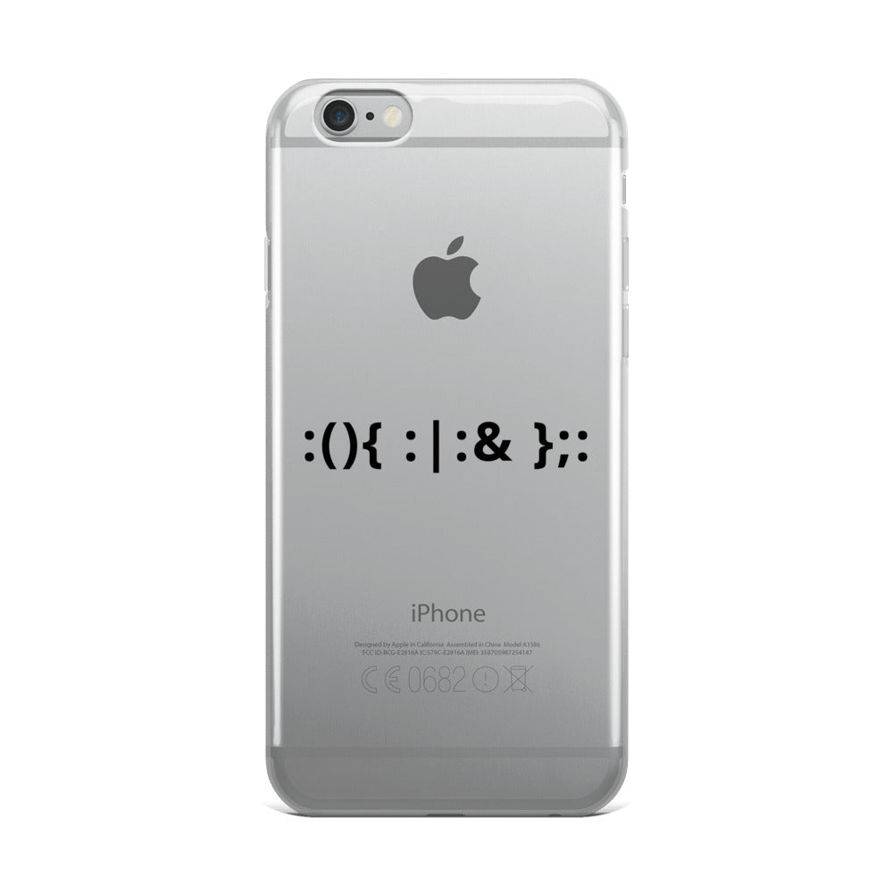 Linux Hackers - Bash Fork Bomb - Black Text iPhone Case