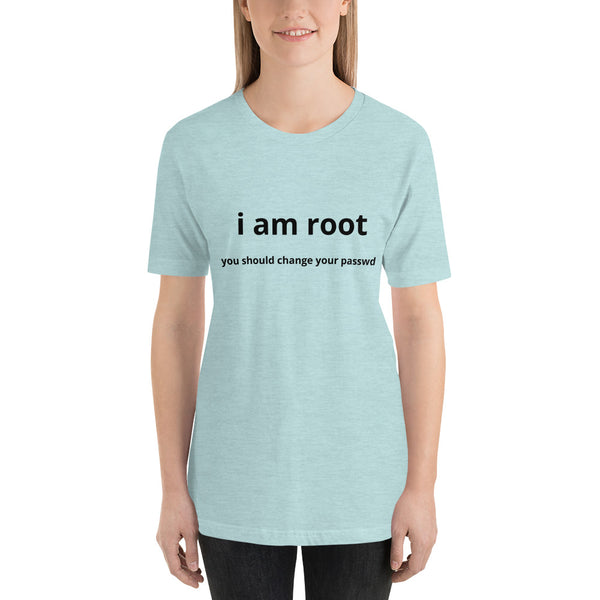 i am root - Short-Sleeve Unisex T-Shirt (black text)