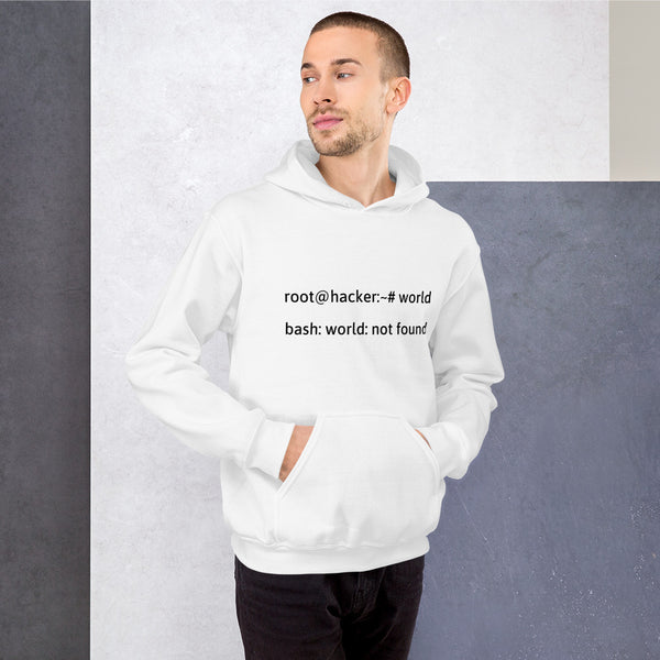 Linux Tweaks - world not found - Hooded Sweatshirt (black text)