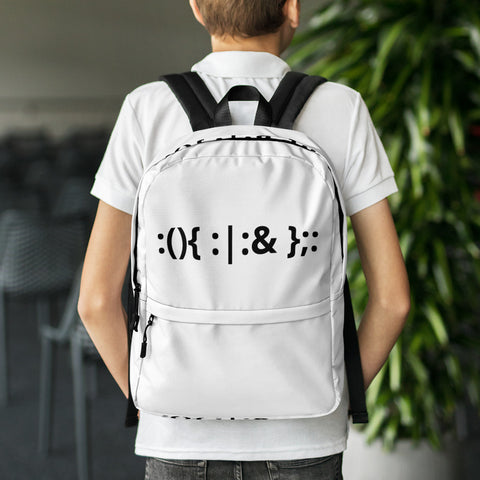 Linux Hackers - Bash Fork Bomb - Black Text Backpack