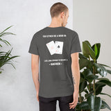 You either die a noob or live long enough to become a hacker - Short-Sleeve Unisex T-Shirt (white text)