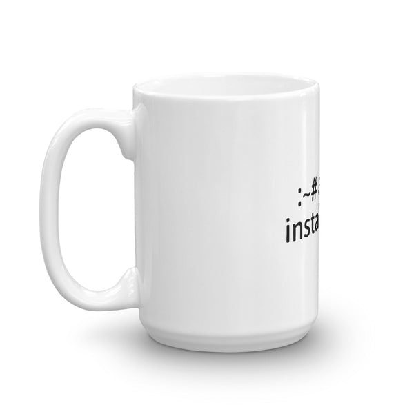 """apt-get install coffee"" Hacker Mug (White)"