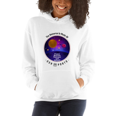 The Universe Is Made Of Default SSH Ports - Unisex Hoodie (black text)