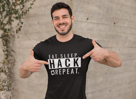Eat seep hack repeat  - Short-Sleeve Unisex T-Shirt (back)