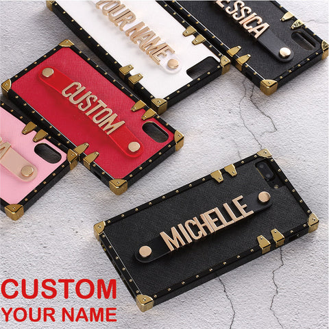 iPhone Leather Trunk Case Holding Strap Gold Metal Custom Name