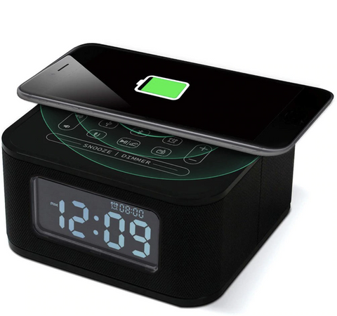 Bluetooth Speaker Qi Wireless Charger Alarm Clock  For iPhone Android