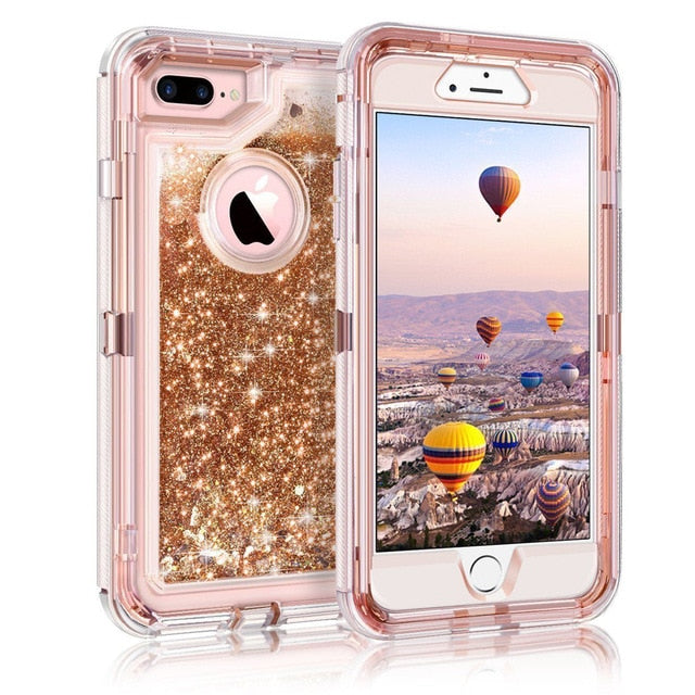 Hybrid 3D Glitter Quicksand Shockproof Armor Case for iPhone