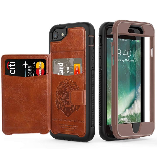iPhone Multifunction Tough Armor Magnetic Flip Wallet Case