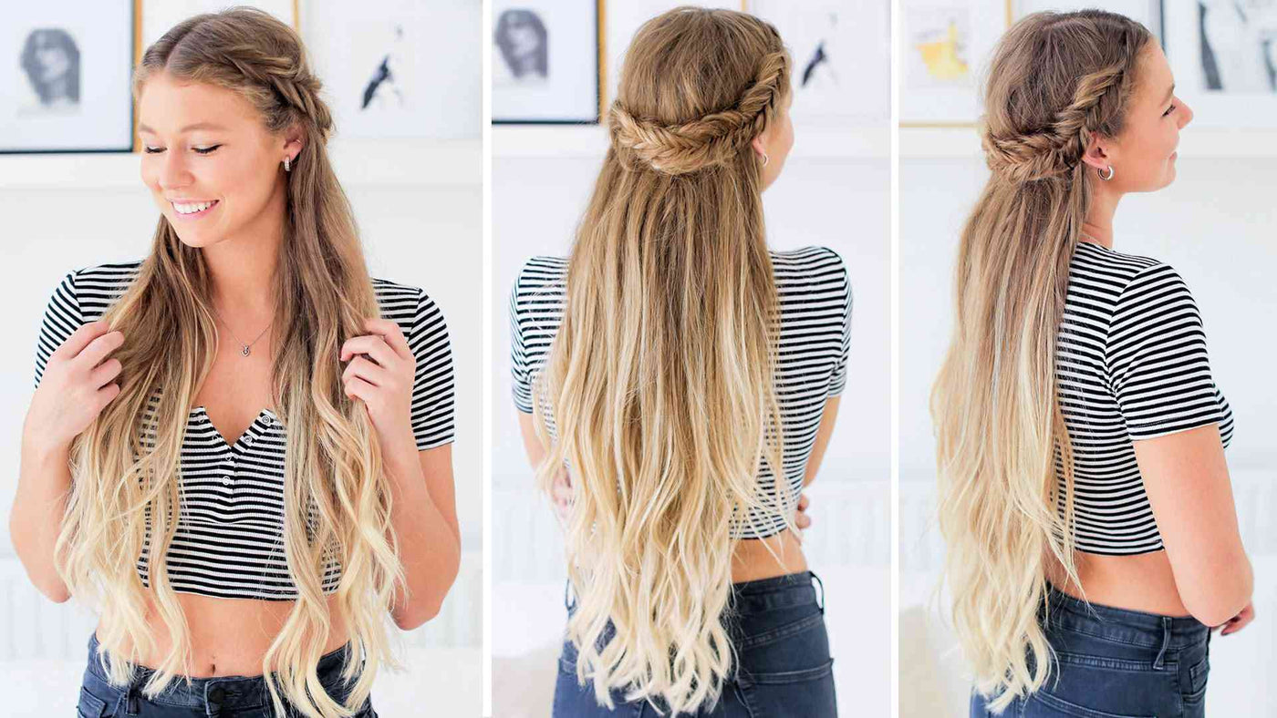Fishtail Braid Half-Up Hairstyle Tutorial – Luxy Hair