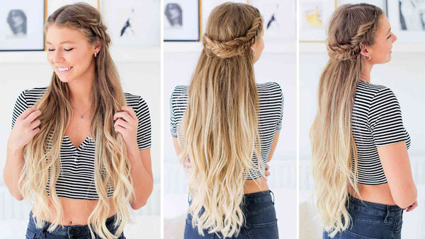 Fishtail Braid Half-Up Hairstyle Tutorial