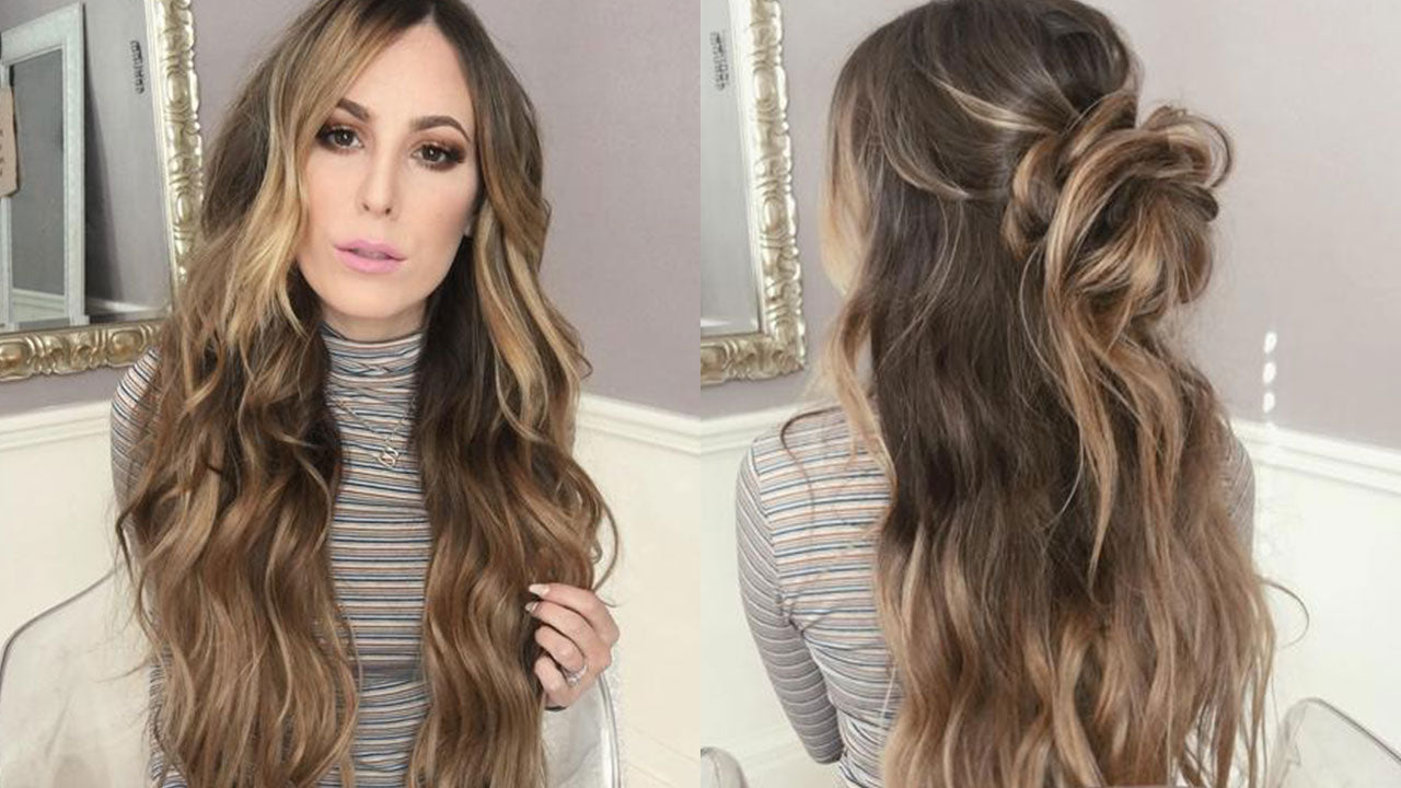 How To Style Long Hair Beach Waves Messy Bun