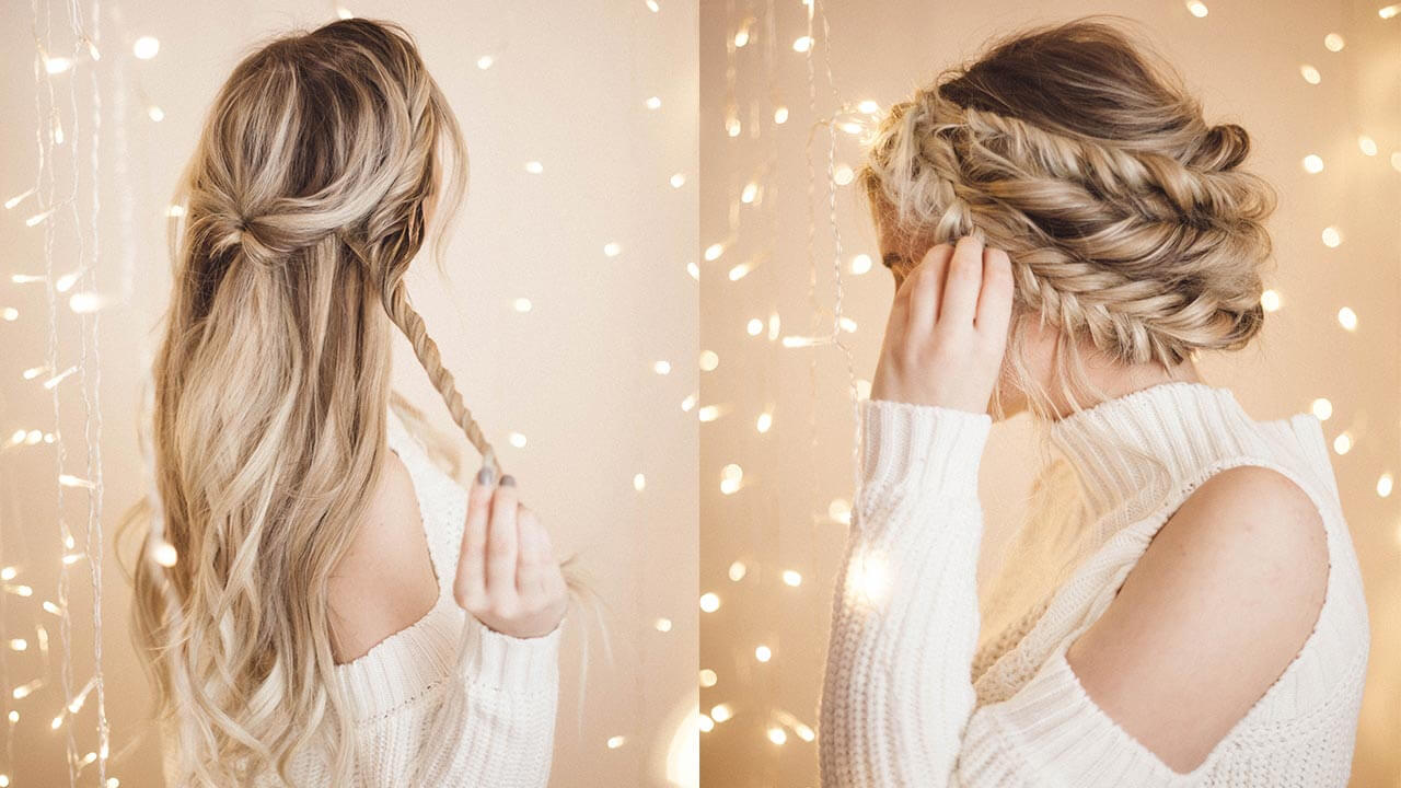 Braided Halo Hairstyle Easy Updo for Long Hair \u2013 Luxy Hair