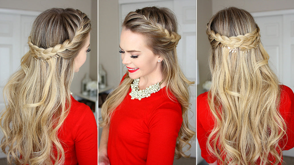 French Braid Crown Holiday Hairstyle – Luxy Hair