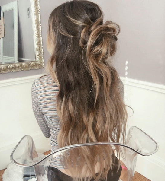 How to Style Long Hair: Beach Waves & Messy Bun – Luxy Hair