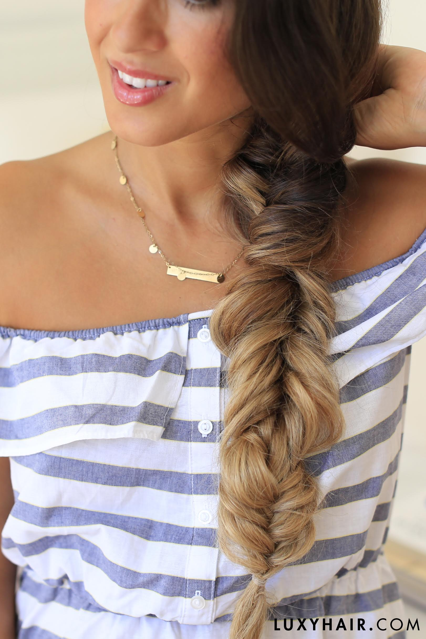 Fishtail Braid Hairstyle Luxy Hair Ombre Blonde