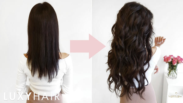 Before and after transformation with Luxy Hair extensions