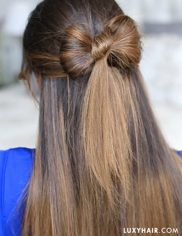 Half Up Hair Bow. Holiday Hairstyles
