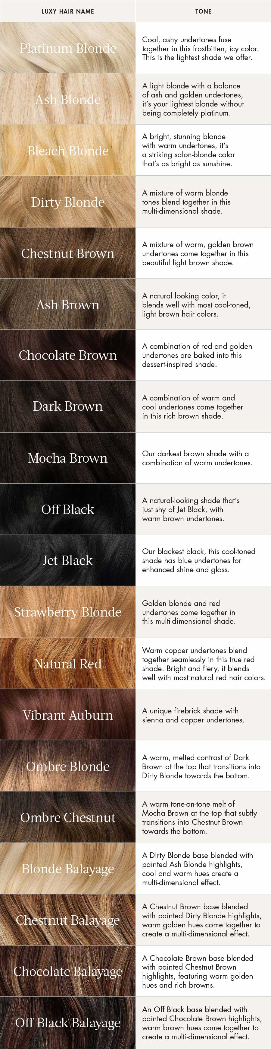 Luxy Hair Extensions Color Guide