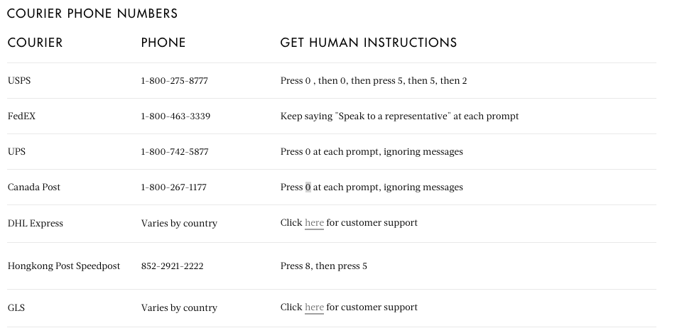 Courier Phone Numbers