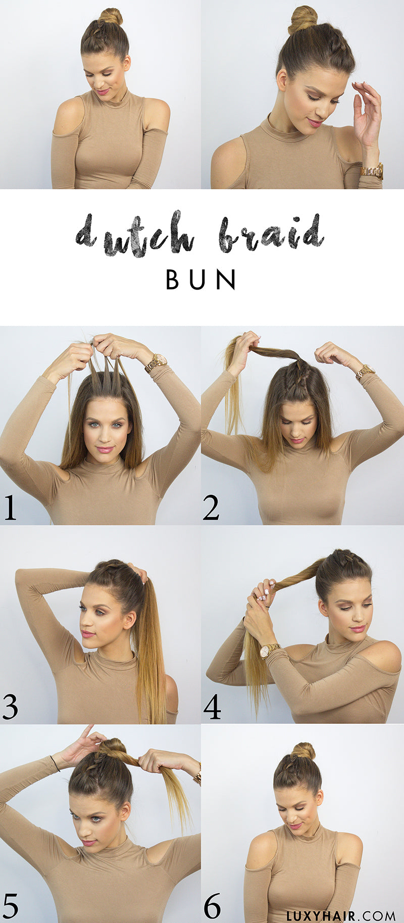 back to school heatless hairstyle dutch braid bun