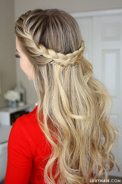 French Braid Crown Holiday Hairstyle Luxy Hair