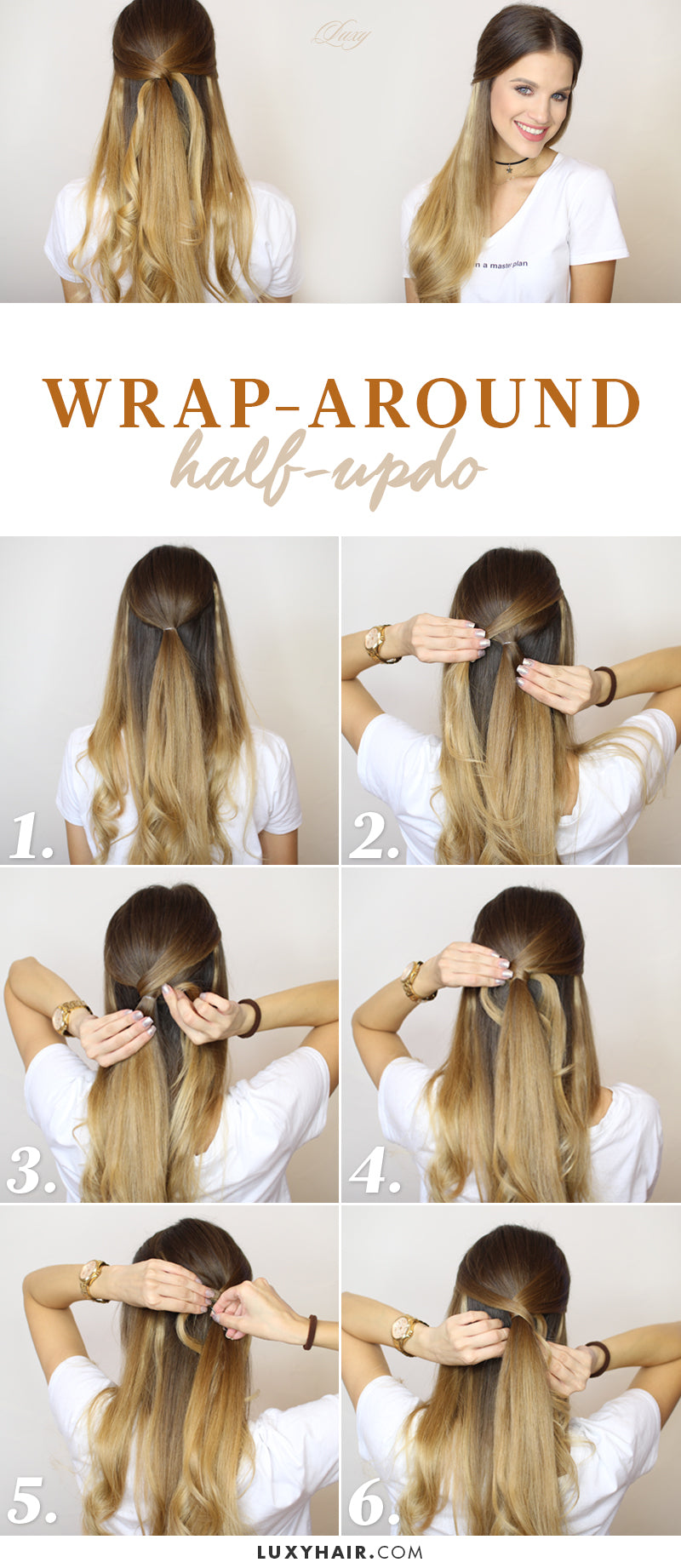wrap around half updo