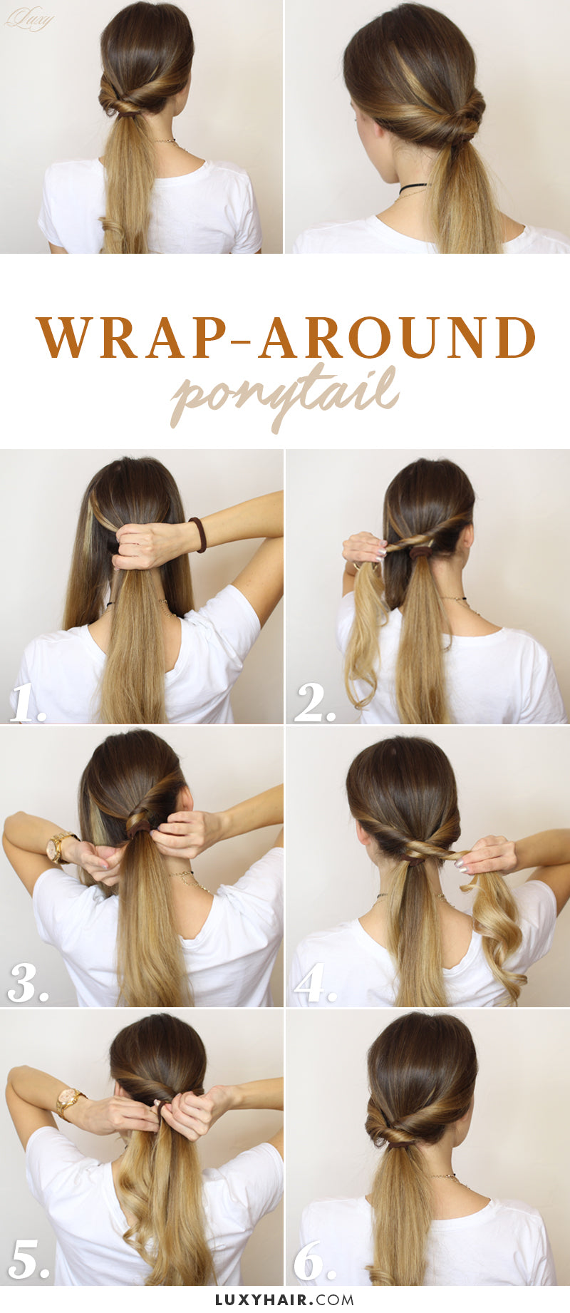 wrap around ponytail easy hairstyle luxy hair