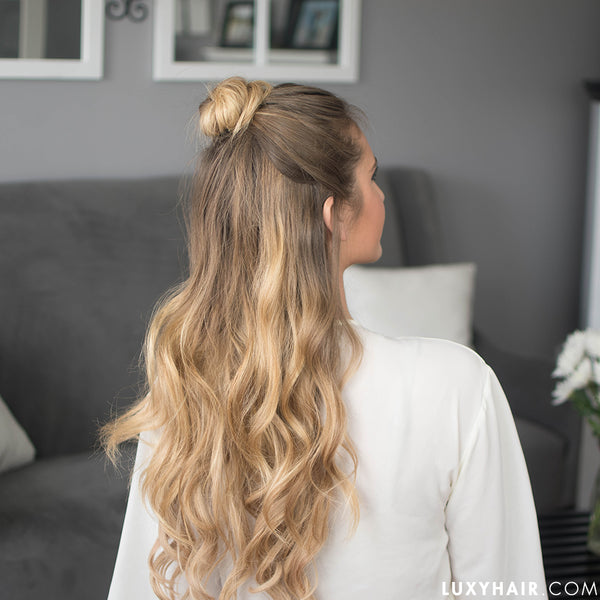 Valentines Day half up hairstyle for long hair
