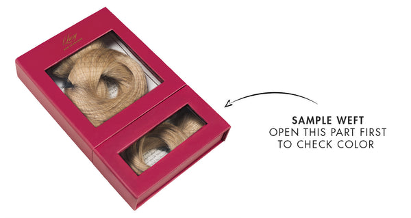 What is the purpose of the Luxy Hair sample weft?
