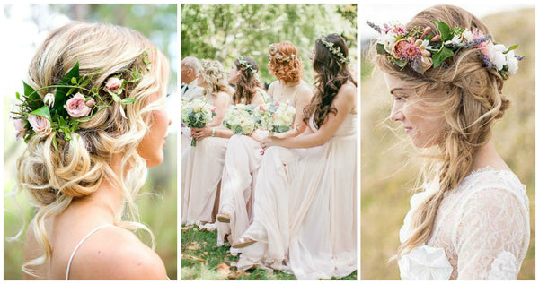 Boho wedding flower crown bridesmaids hair ideas