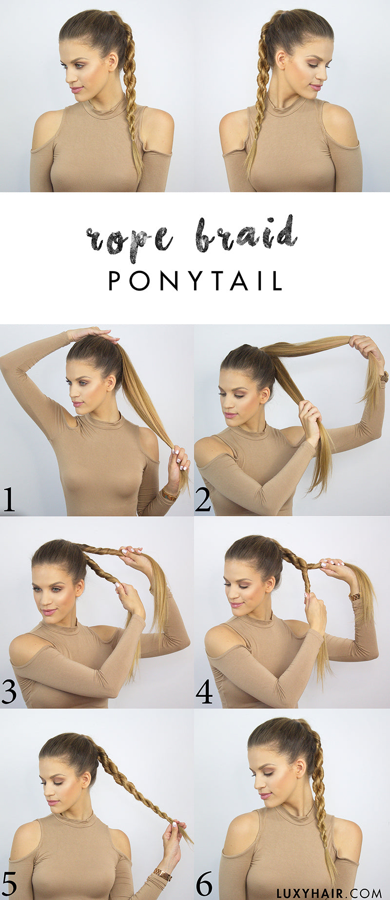 How to do a rope braid ponytail