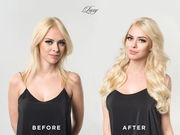 before after luxy hair extensions