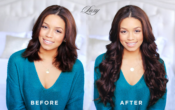 before and after with luxy hair extensions