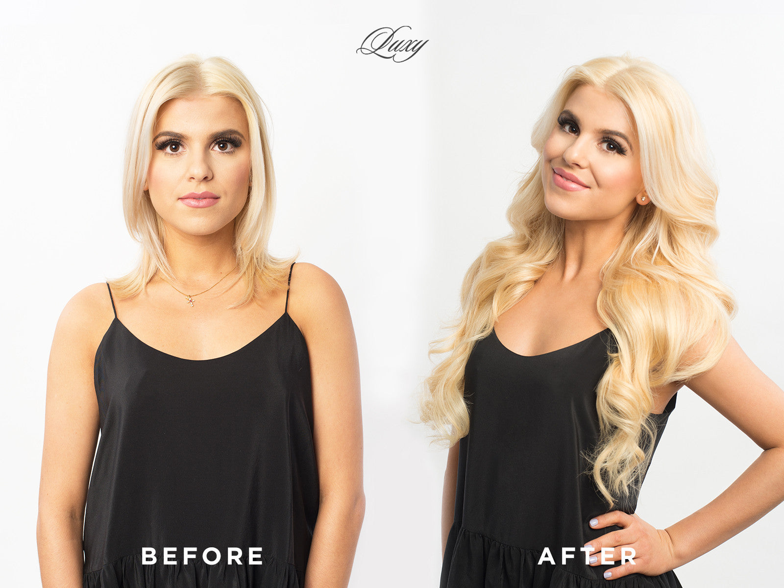 Before and after transformation Luxy Hair