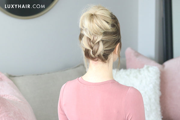 easy braided topknot hairstyle