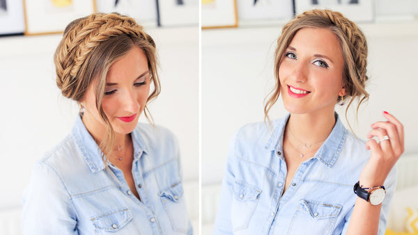 fishtail milkmaid braid updo