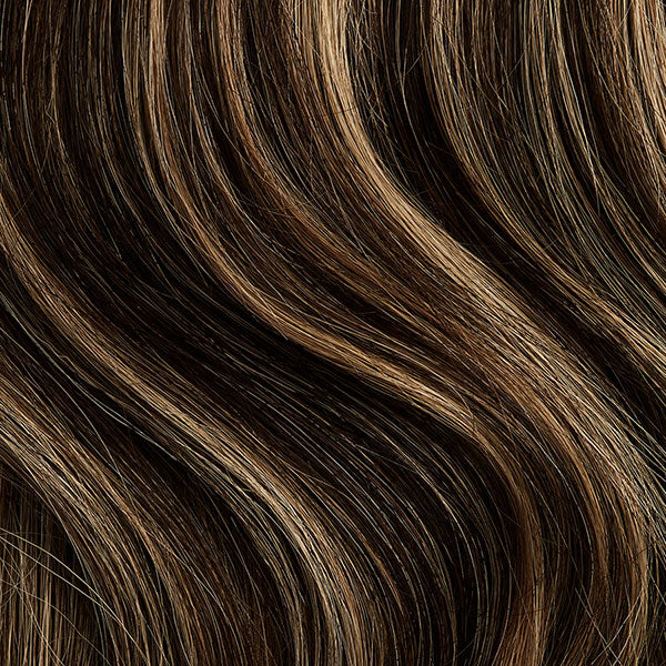 Seamless Mocha Brown Highlights Volumizer Weft