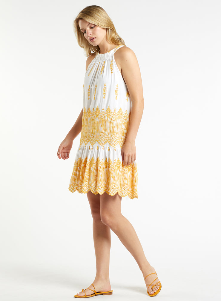 Marie Oliver - Golden Eyelet Josie Flounce Dress