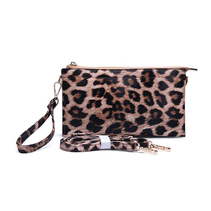 Ahdorned - Faux Leather Multi Compartment Convertible Cluth - Leopard