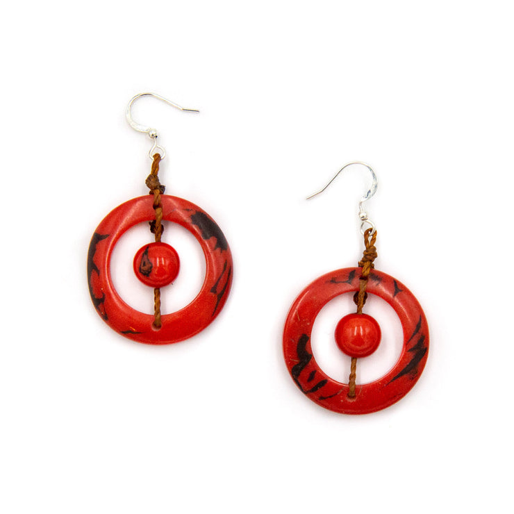 Tagua - Lorena Earrings Poppy Coral