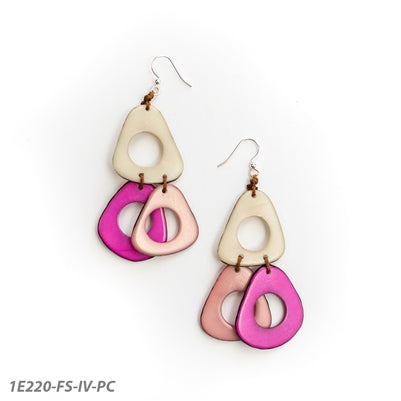 Tagua - Lucia Earrings Pink Combo