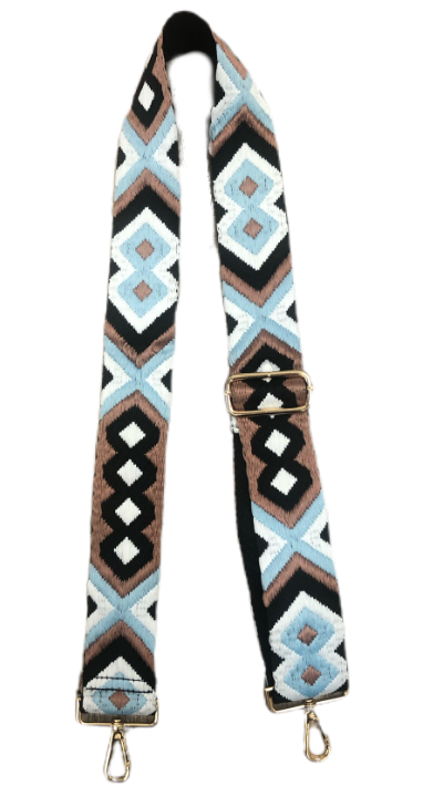 "Ahdorned - 2"" Adjustable Embroidered Aztec Strap - Blue/Brown"