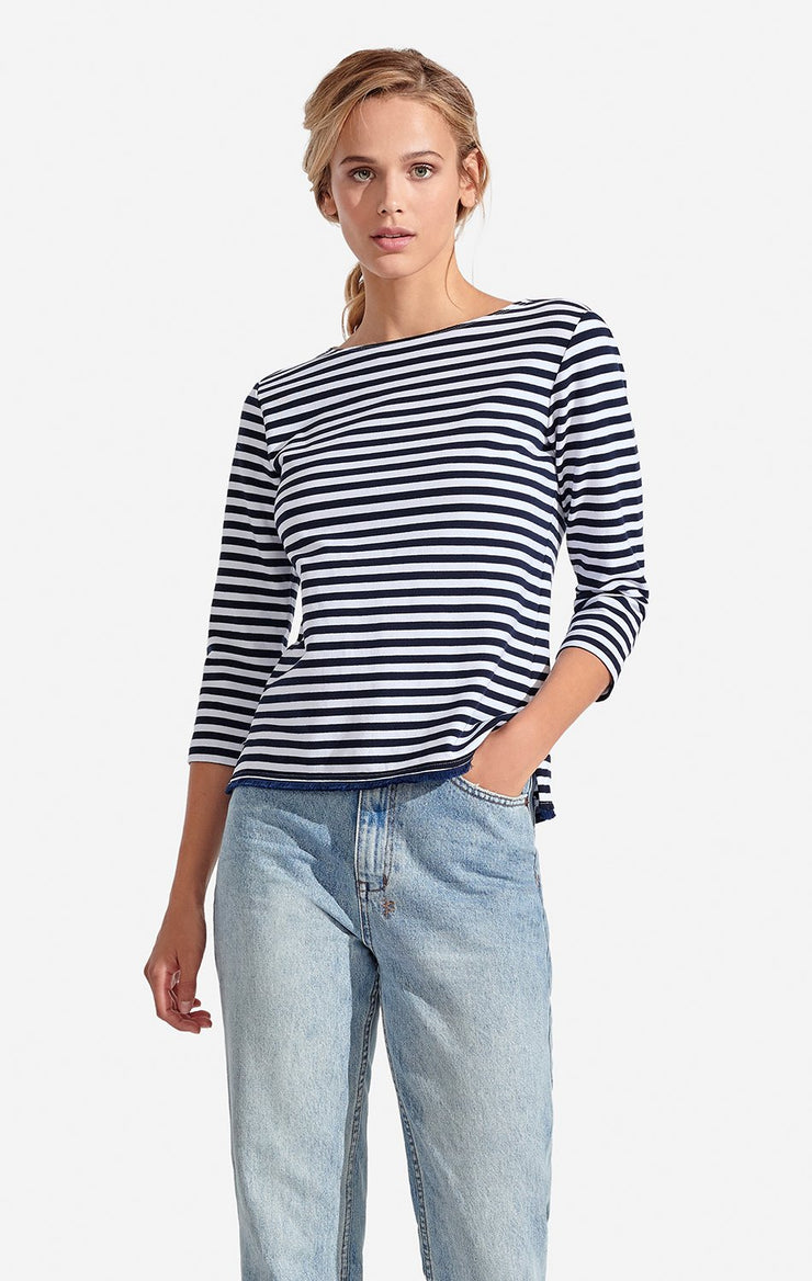 Persifor - 3/4 Slv Striped Alex Top Bleu