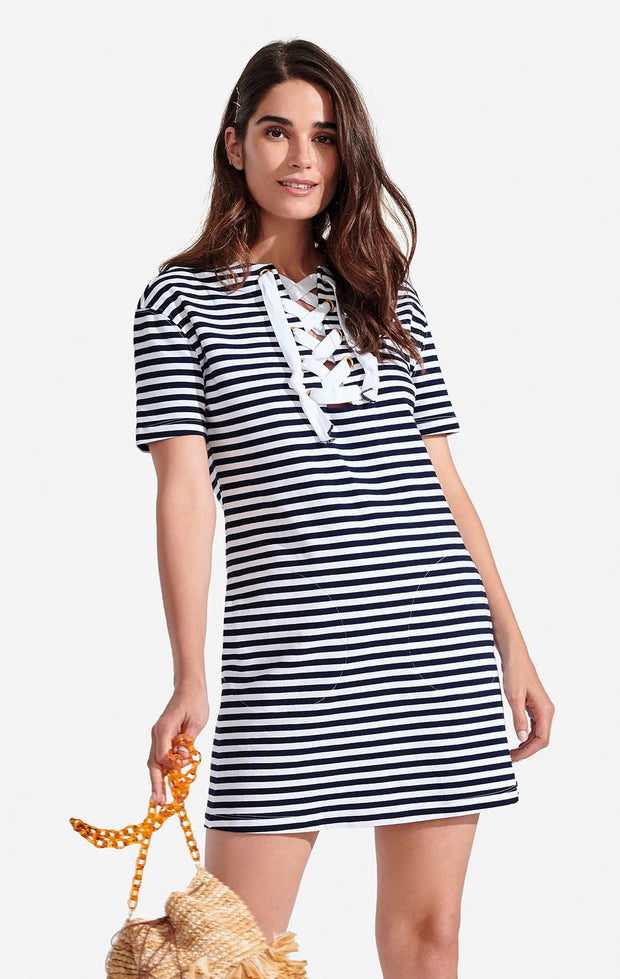 Persifor - S/S Striped Lace Up Dress Bleu