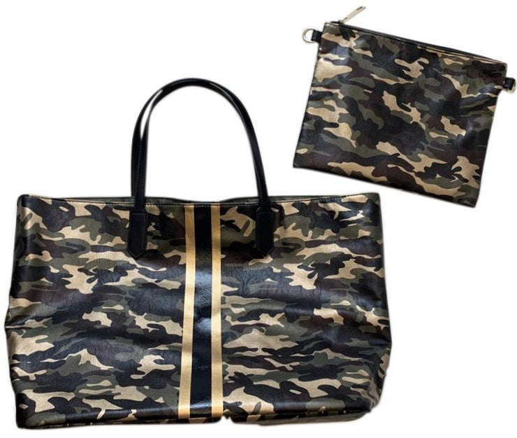 Ahdorned - METALLIC CAMO TOTE W/STRIPE & PULL OUT INTERIOR CROSS BODY BAG