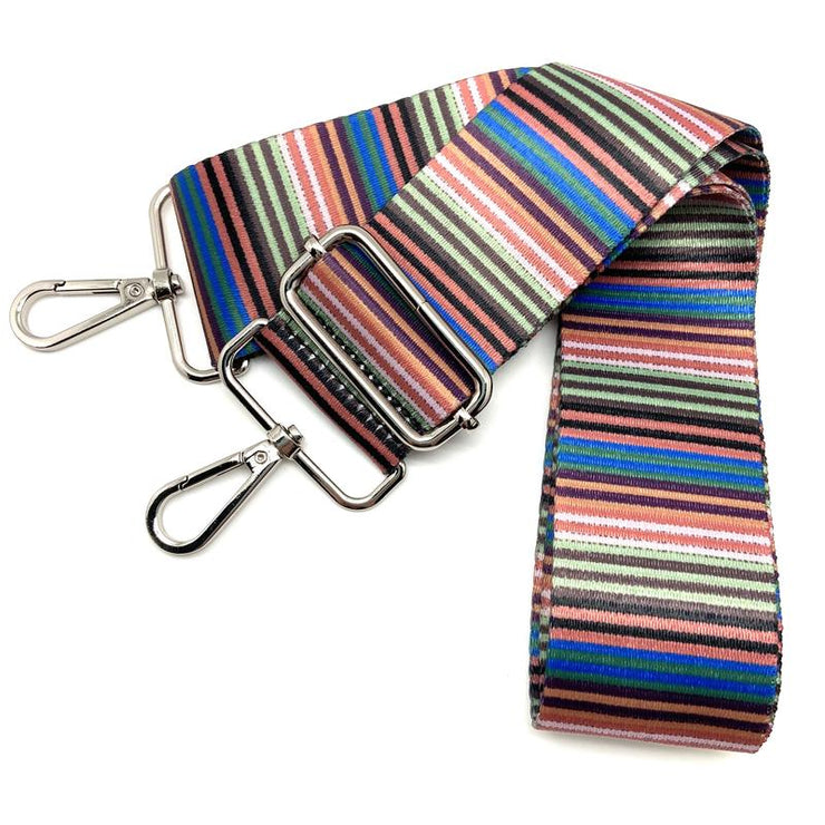 Ribbon Multi Stripe Color Strap (Silver Hardware)