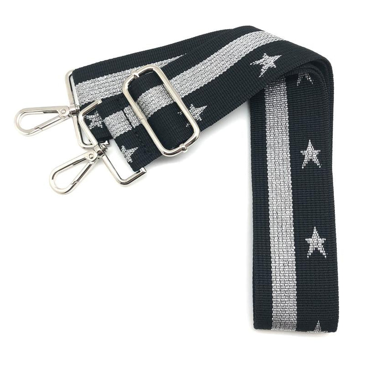 Canvas Black & Silver Stars & Stripe Strap (Silver Hardware)