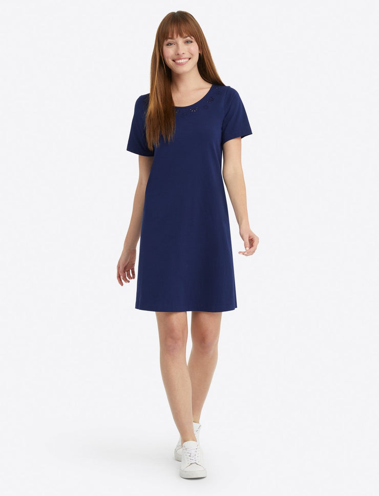 Draper James - Embroidered S/S T-Shirt Dress: Navy